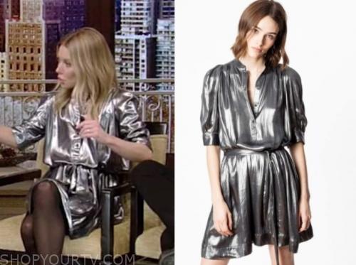 kelly ripa's silver metallic dress