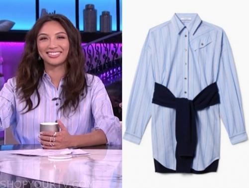 jeannie mai's blue stripe shirt dress
