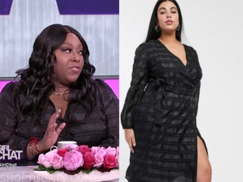 loni love's black check wrap dress
