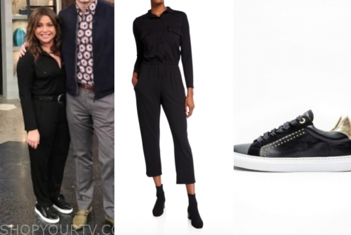 rachael ray's black jumpsuit and sneakers