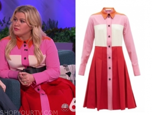 kelly clarkson's colorblock shirt dress