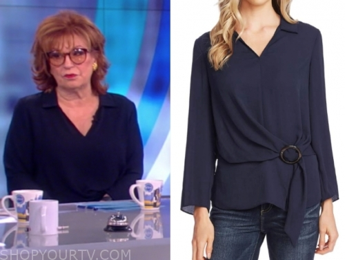 joy behar's blue belted blouse