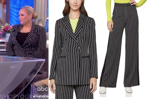 meghan mccain's black and white stripe pant suit