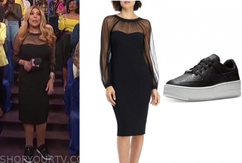 wendy williams's black dress and black leather sneakers