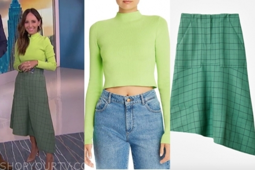 lilliana vazquez's green sweater and check skirt