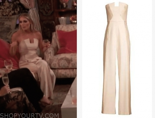 kelsey w.'s ivory strapless jumpsuit, the bachelor