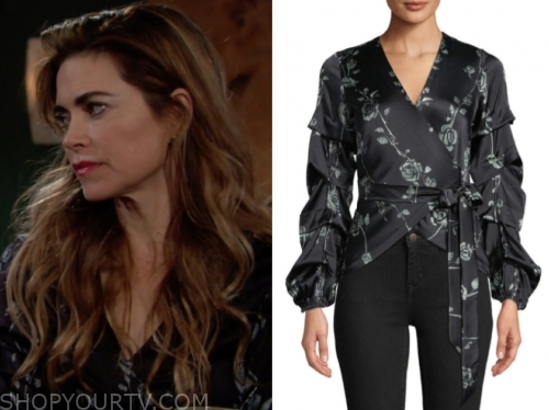 victoria's black floral wrap top