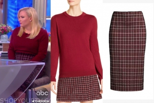 meghan mccain's red sweater and red tweed pencil skirt