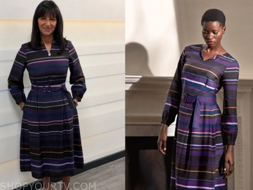 ranvir singh's purple striped dress