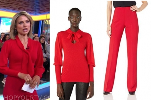 amy robach's red sweater and pants