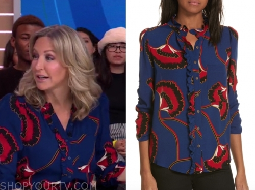 lara spencer's blue and red printed blouse