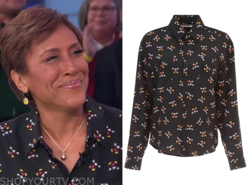 robin roberts's black mickey mouse blouse