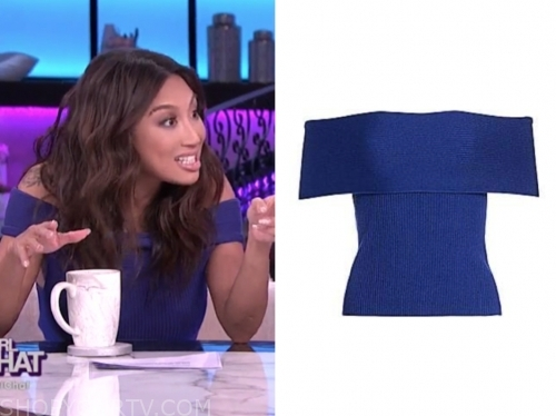 jeannie mai's blue off-the-shoulder knit top