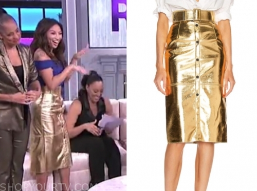 jeanne mai's gold pencil skirt