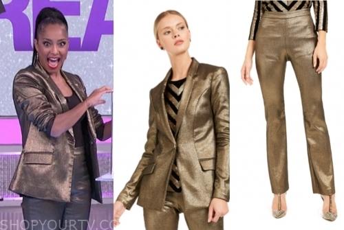 amanda seales's gold metallic pant suit