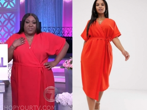 loni love's red wrap dress