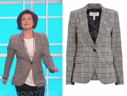 sharon osbourne's grey plaid blazer