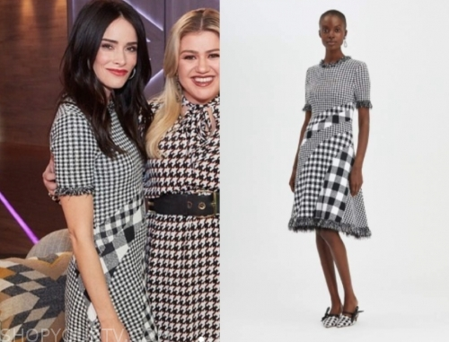 abigail spencer's black and white houndstooth tweed dress