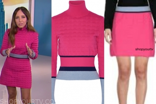 lilliana vazquez's pink textured turtleneck dress