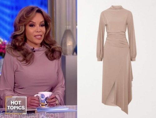 sunny hostin's beige drape midi dress
