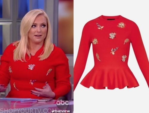 meghan mccain's red embellished top