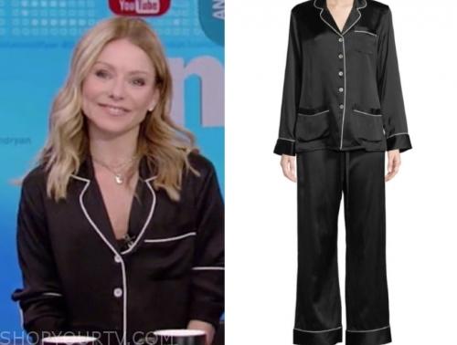 kelly ripa's black satin pajamas