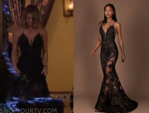 courtney p.'s black lace gown, the bachelor