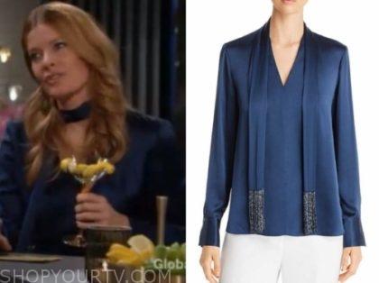 phyllis newman's blue tie neck blouse