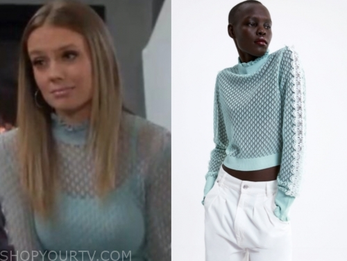 abby newman's mint green ruffle sweater