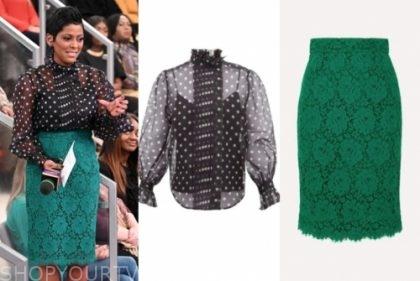 tamron hall's black polka dot top and green lace skirt