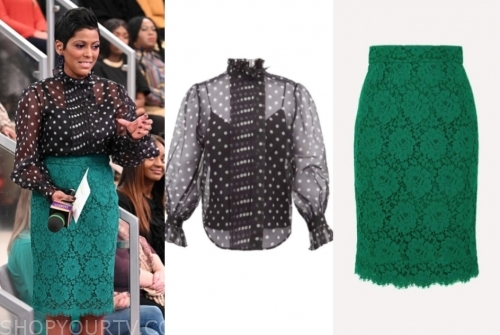 tamron hall's black polka dot top and green lace skirt
