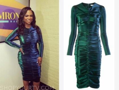 kandi burruss's green metallic dress