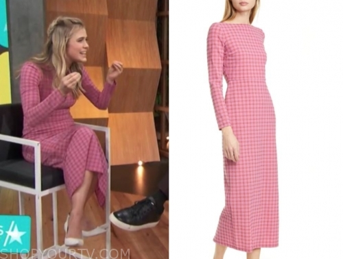 melissa roxburgh's pink check midi dress