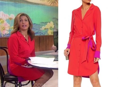 hoda kotb's red and purple colorblock dress