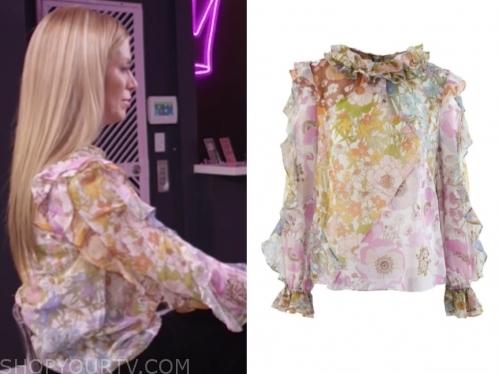 jill martin's floral ruffle blouse