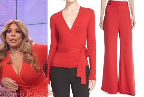 wendy williams's red wrap sweater and red pants