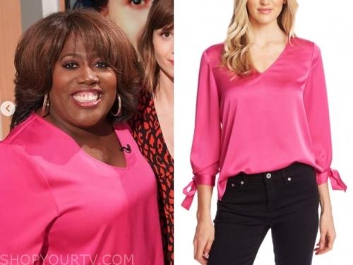 sheryl underwood's pink tie sleeve blouse
