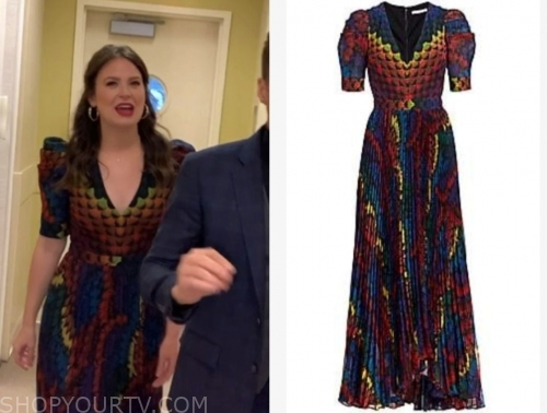 katie lowes's multicolor printed dress