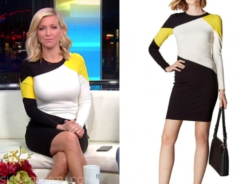 ainsley earhardt's colorblock knit dress