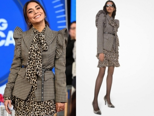 vanessa hudgens's leopard top and skirt, check blazer