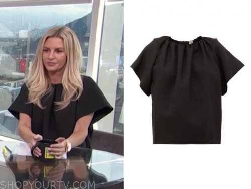 morgan stewart's black gathered top