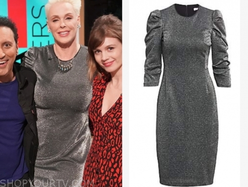 brigitte nielsen's metallic puff sleeve dress