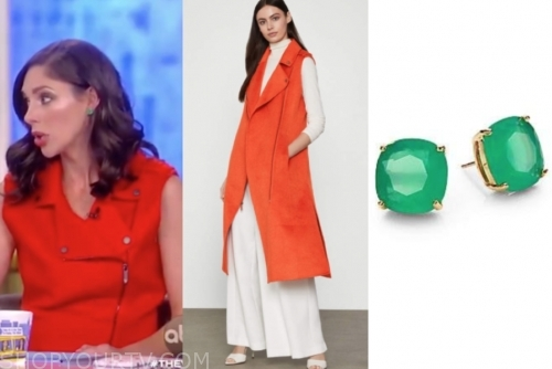abby huntsman's red vest and green earrings