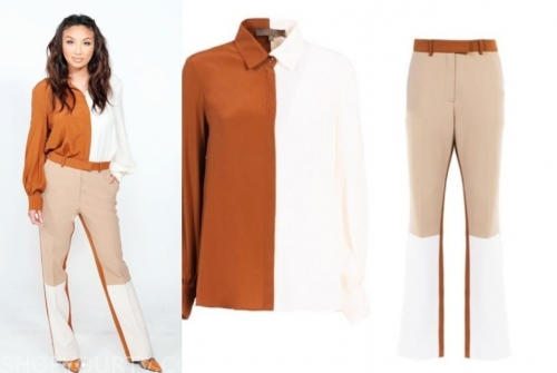 jeannie mai's colorblock blouse and pants