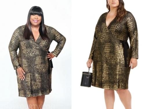 loni love's gold metallic snakeskin wrap dress