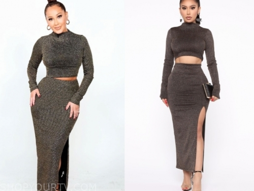 adrienne bailon's metallic crop top and skirt set