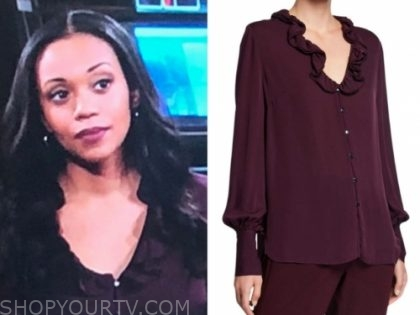 amanda sinclair's burgundy ruffle blouse