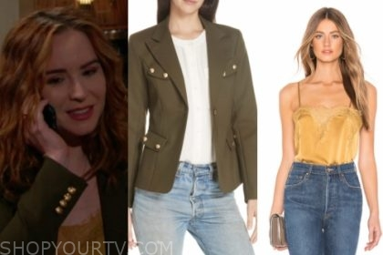mariah copeland's green blazer and yellow lace camisole top