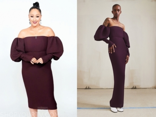 tamera mowry's purple off-the-shoulder dress