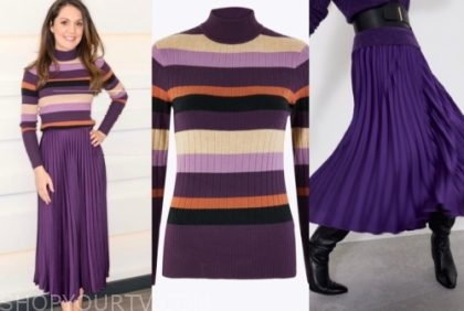 laura tobin's striped sweater and purple pleated skirt